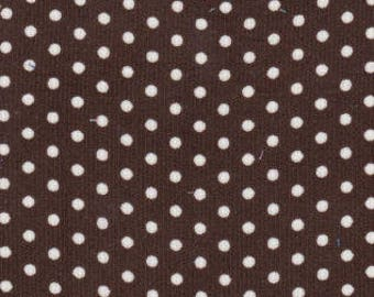 Brown dot corduroy fabric by the yard, Fabric Finders printed corduroy, 12 wale 58 inch wide brown polka dot corduroy, apparel corduroy