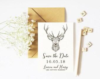 Save The Date - Deer, Wildlife- Outdoor Wedding