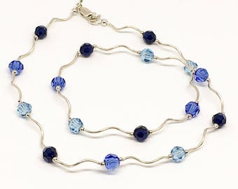 Sterling silver and Swarovski beaded necklace - tube beads and round beads