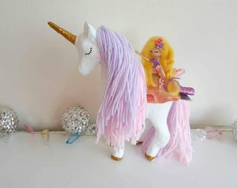 Magical rainbow unicorn doll, girls bedroom decoration, personalised