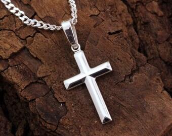 Small Silver Cross Necklace, Silver Cross, Baptism, Boys Cross Charm, Girls Cross Necklace, Choose Italian chain. Cross Jewelry. S-5141