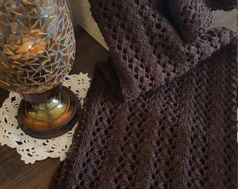 Little Leaf Women's Lace Knit Scarf - Dark Brown