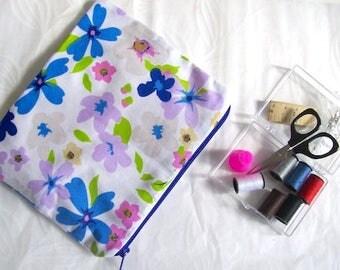 sewing travel kit sewing kit blue floral mini sewing bag blue flower sewing kit