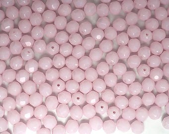 600 Pink Alabaster, 4mm Preciosa Czech Fire Polished Round Faceted Glass Beads, Czech Glass Fire Polish Beads loose