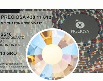 HOTFIX, 1440 Preciosa Genuine Czech Crystals 16ss Gold Quartz AB coated Viva12 Iron-on, ss16, 4mm, MC Chaton Rose Viva 12faceted Rhinestones