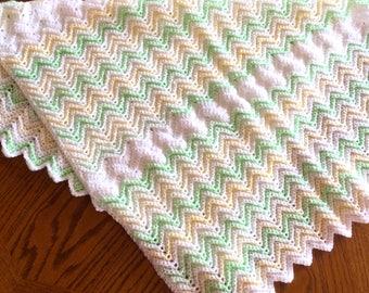 Green & Lemon Yellow Baby Blanket Crocheted in Acrylic Yarn