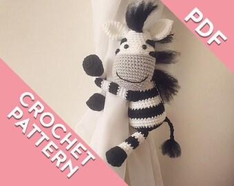 Zebra curtain tie back PATTERN, tieback, left or right side crochet pattern PDF instant download amigurumi PATTERN