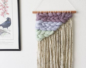 Angled Woven Wool Wall Hanging - Cool Colors