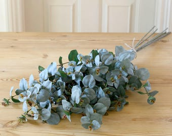 Artificial Bouquet D'Eucalyptus | Faux Real Touch Eucalyptus Stem For Flower Arranging | Faux Flowers By UK Florist
