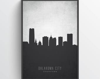 Oklahoma City Skyline Poster, Oklahoma City Art, Oklahoma City Print, Oklahoma City Decor, Home Decor, Gift Idea, USOKOC19P