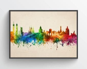 Madrid Poster, Madrid Skyline, Madrid Cityscape, Madrid Print, Madrid Art, Madrid Decor, Home Decor, Gift Idea, ESMD05P