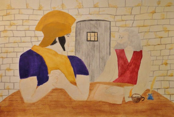 Paul In Prison Sharing with Roman Guard Watercolor Art Decor Painting by Rosie Foshee