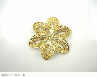 ON SALE Raw Brass Carved Filigree Brass Flower Filigree Findings Brass Six Petal Filigree Brass Flower Jewelry Supplies 44mm (1pc) 95V7