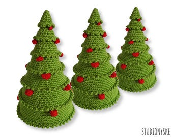 Christmas crochet PATTERN, amigurumi tree with balls, X-mas ornament decoration