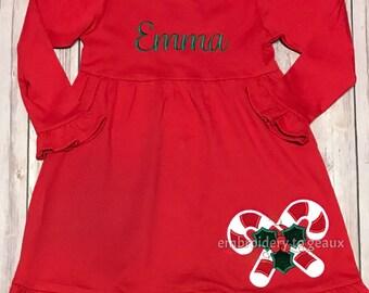 Monogrammed Girl's Christmas Dress, Girls Christmas Outfit, Candy Cane Dress, Christmas Holly Dress, Toddler Girls Christmas Outfit