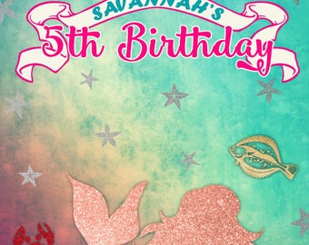 Custom Mermaid Backdrop Banner Sign Background Photo Booth (Many Sizes Materials Available) Birthday, Shower (Any Text)
