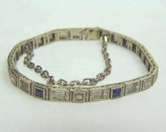 Womens Vintage Estate .925 Art Deco Sterling Silver Bracelet, 12.3g #E3712