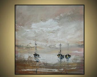 Square Painting Original Abstract Art Oil  Modern  Brown Gray Pink 24X24inches on canvas