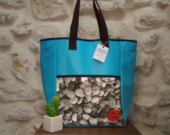 Small pebbles oilcloth tote bag