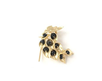 Flower brooch gold tone and natural black spinel stone beads
