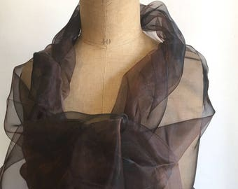 Dark brown synthetic Organza shawl, woman shawl ideal evening wedding ceremony