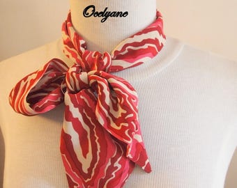 Narrow neck scarf style Twilly printed silk pink and Red