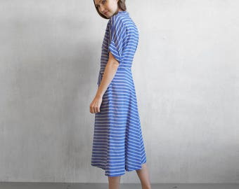 Blue nautical striped dress / blue and white 70s striped dress
