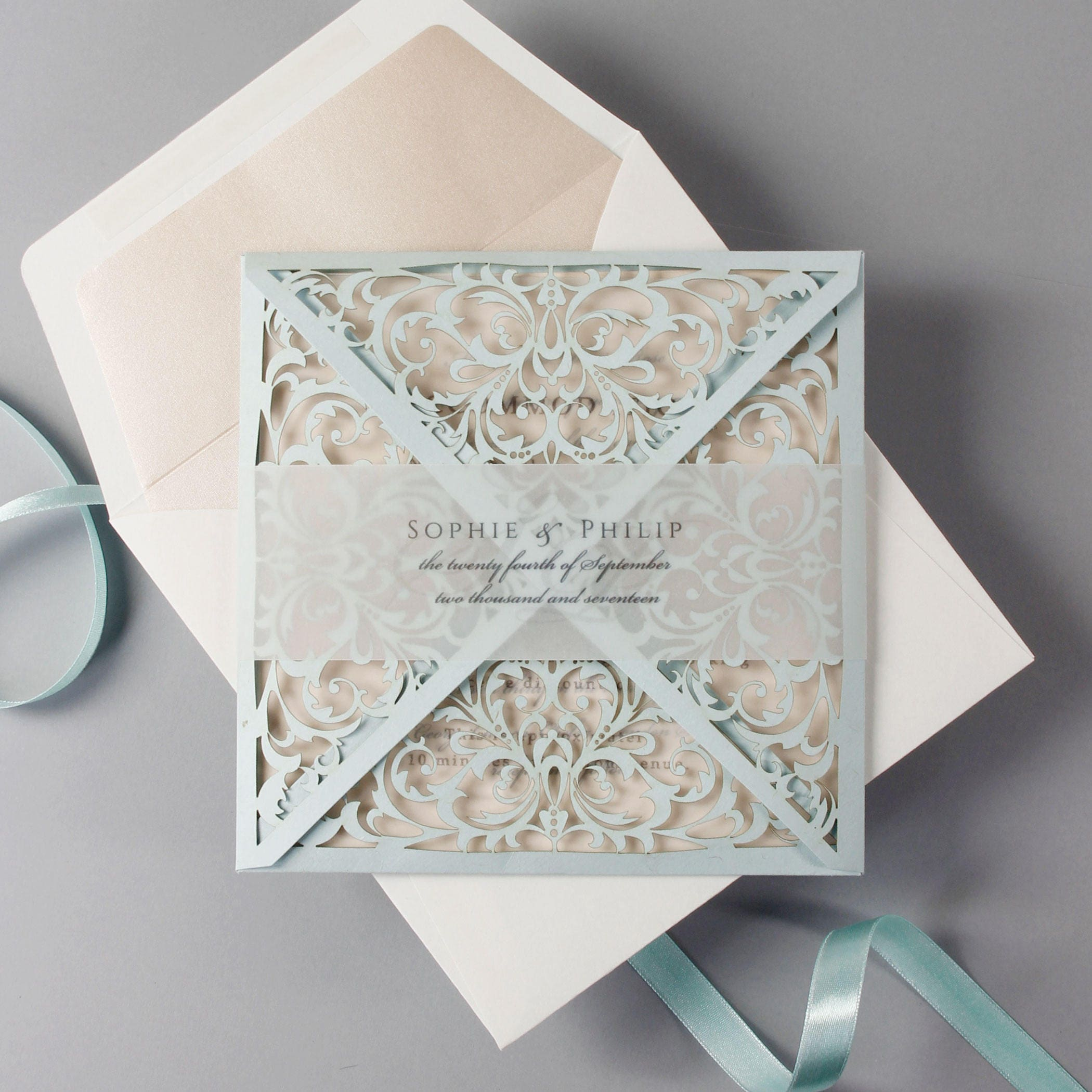 dusty blue luxury pocket envelope laser cut wedding invitation