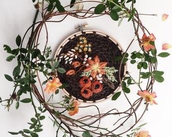 Earth Tone Fiber Art Wall Hanging. Embroidered Hoop Ring. Handsewn Crewel Tapestry. Flower Crochet Sampler. Botanical Etsy Editor Picks