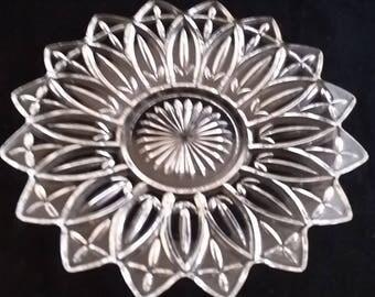 Federal Glass Flower Shaped Platter