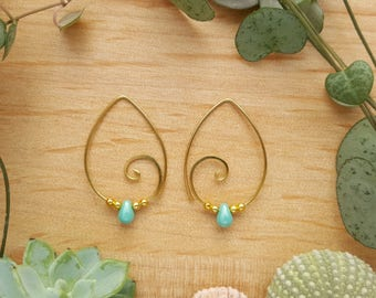 Turquoise Brass Earrings // Spiral Hoop Earrings // Turquoise Jewellery // Boho Earrings // Brass Jewellery // Spiral Jewellery