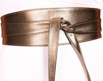 Antique Gold Leather Obi Belt | Gold Obi Belt | Bridesmaid Sash | Bridal Sash Belt | Gold Wrap belt | Gold Leather wrap Belt | plus size
