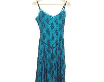 Betsey Johnson Teal and Black Lace Slip Dress