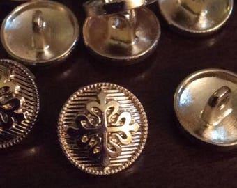 Calatrava / Calon Cross Calontir buttons, set of 10 - BRIGHT GOLD