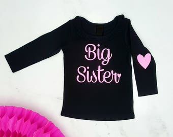 Big Sister Long Sleeve Shirt,  Black with Neon Pink Glitter, 4 Styles Available