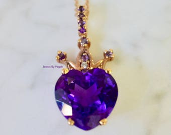 Any Color 14K Gold Heart Shaped Amethyst And Diamond Necklace