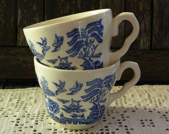 Vintage English Ironstone Tableware (EIT) Blue Willow x 2 Tea cups
