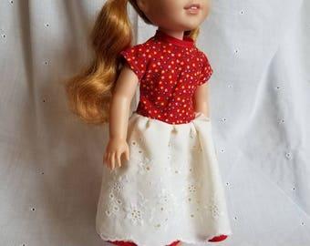 Wellie Wisher red, white, yellow dress