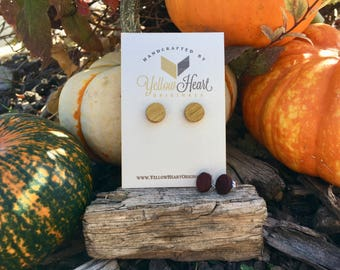 Wooden Circle Stud Earrings