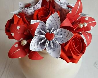 Alice In Wonderland, Paper Flowers, Paper Bouquet, Paper Flower Bouquet, Origami Flowers, Origami Bouquet