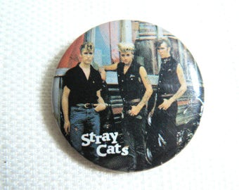 Vintage 80s Stray Cats - Rockabilly Pin / Button / Badge