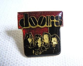 Vintage Early 80s - The Doors - Black Logo - Enamel - Pin / Button / Pinback