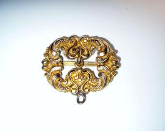 Ornate Gold Filled Buckle, Ribbon Slide for Project, Antique