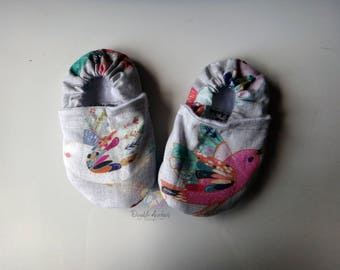 Birds ~ Stay-On Shoes/Slippers ~ Size 6-9 months ~ READY TO SHIP!