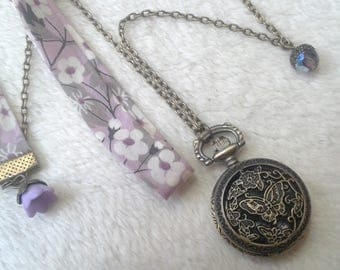 Purple Liberty Butterfly Pocket Watch necklace