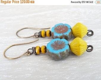 On Sale Floral Earrings, Flower Earrings, Czech Glass Earrings, Faceted Rondelle Earrings, Mustard Earrings, Blue Earrings, Vintaj Brass Ear