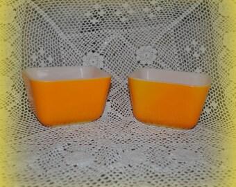 Orange Square Pyrex Refrigerator Dishes, 501 Small Pyrex Orange, 4 1/4 x 3.5 in.