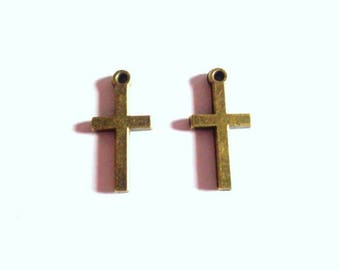 Set of 2 charms cross rustic, simple style, antiqued bronze, 19 x 9mm