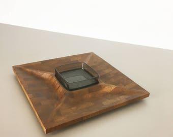Danish shell bowl in solid teak wood, Digsmed made in Denmark - 1960s Space Age   midcentury modern STILNOVO   danish modern art deco