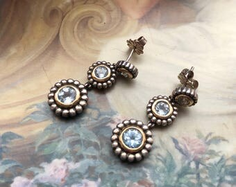 Beautiful Sky Blue Topaz Sterling Silver and Gold Earrings